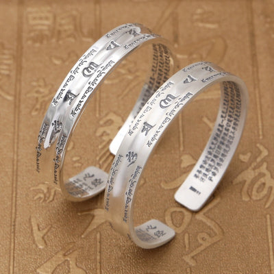 Bangle 925 Buddha Scripture Mantra Bracelet - Hipimi