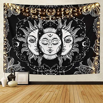 Sun and Moon Tapestry Black and White Burning Sun with Stars - Hipimi