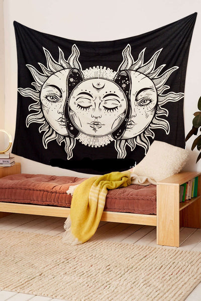 Black Burning Sun and Moon Tapestry Psychedelic Black and White 90''x84'' - Hipimi