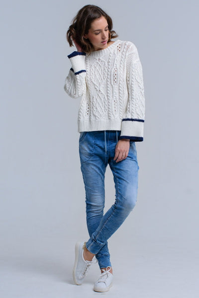 Cream Cable Sweater With Stripe Detail - Hipimi