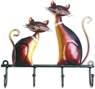 Iron Cat Wall Mounted Key Holder 4 Hooks (SMALL) - Hipimi