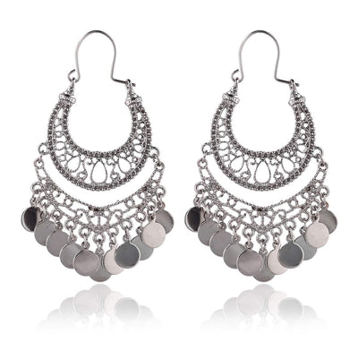 Bohemian Chandelier Coin Dangle Earrings - Hipimi