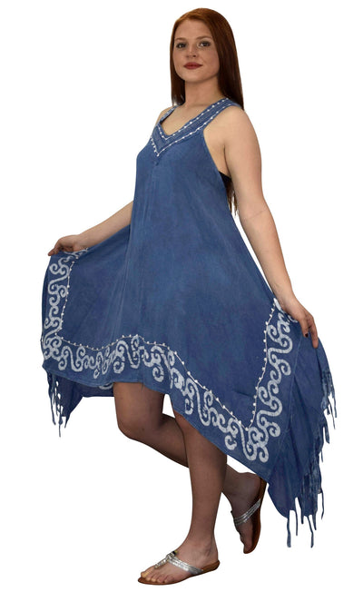 Womens Denim Asymmetric Hem Caftan Tank Dress Tunic Cover Up - Hipimi