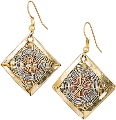 3 Toned Basket Weave Artisan Earrings - Hipimi