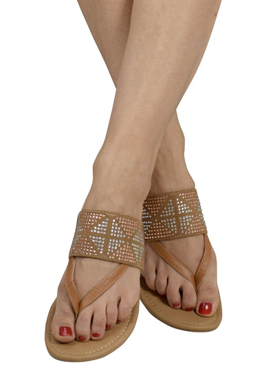 Womens Double Strap Pearl Studded Wide Band Slides - Hipimi