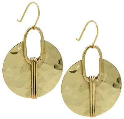 Boho Round Gold & Silver Ethnic Hammered Crescent Earring - Hipimi