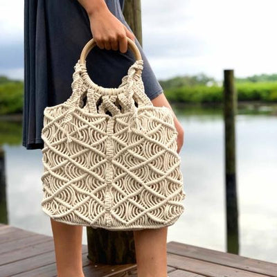 Macrame Bag with Wooden Handle - Hipimi