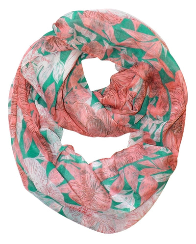 Retro Colorful Faded Hawaiian Hibiscus Flower Infinity Loop Scarf - Hipimi