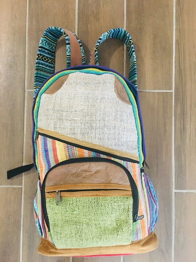Hemp Back Pack All Natural Handmade Multi Pocket Laptop Backpack - - Hipimi