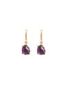 Amethyst Drop Huggie Earrings - Hipimi