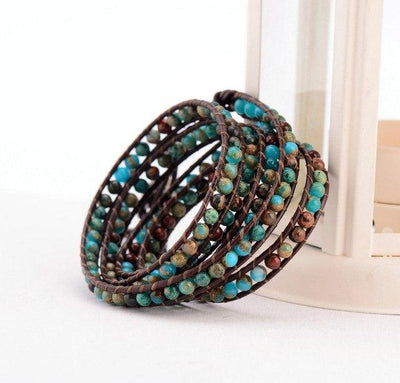 Boho Natural Stone Leather Wrap Bracelet - Hipimi