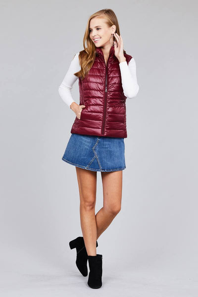 Burgundy Nylon Quilted Puffer Vest - Hipimi