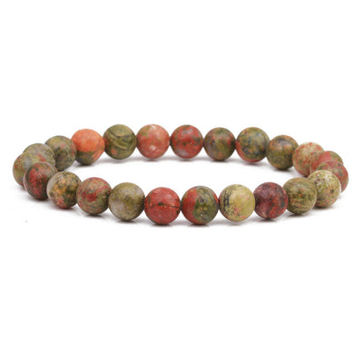 Unakite Stone Beaded Bracelet 8mm - Hipimi