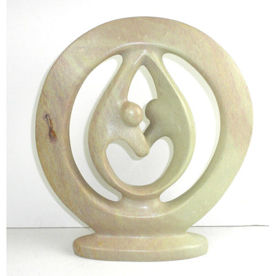 NATURAL SOAPSTONE 6-INCH LOVER'S EMBRACE SCULPTURE - Hipimi