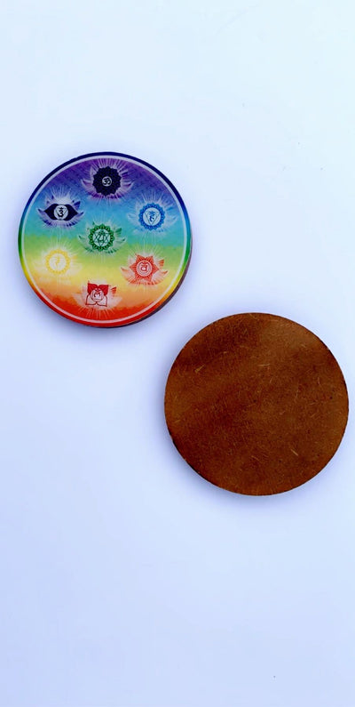 WOODEN PRINTED COASTERS 7 CHAKRA (SET OF 4) - Hipimi