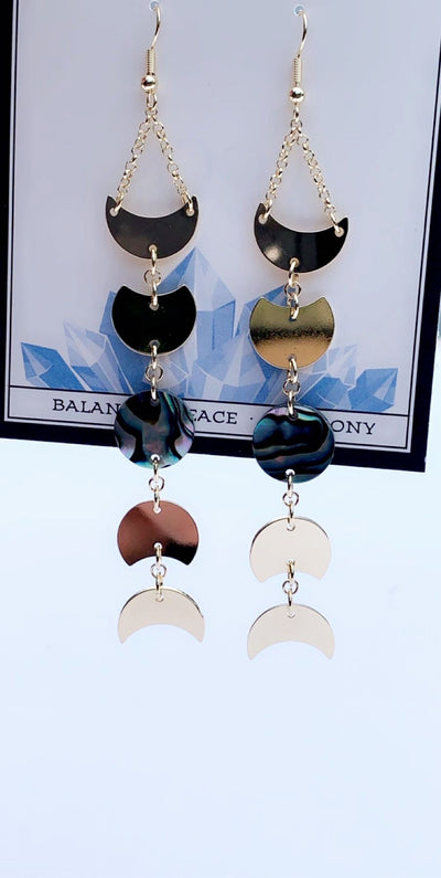 MOONPHASE ABALONE EARRINGS GOLD - Hipimi