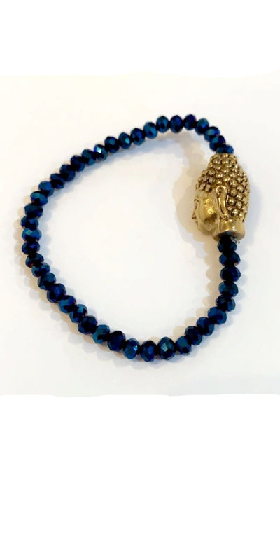 DARK BLUE CRYSTAL BEADED BUDDHA BRACELET - Hipimi