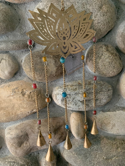 RECYCLED WROUGHT IRON LOTUS WIND CHIME - Hipimi