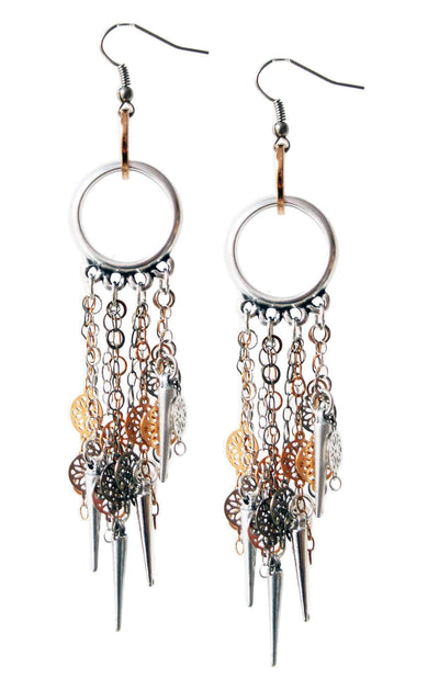 Silver Chandelier Earrings in Flower Chains - Hipimi
