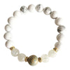 Aqua Terra Jasper, Moonstone and White Howlite Gold Plated Bracelet - Hipimi