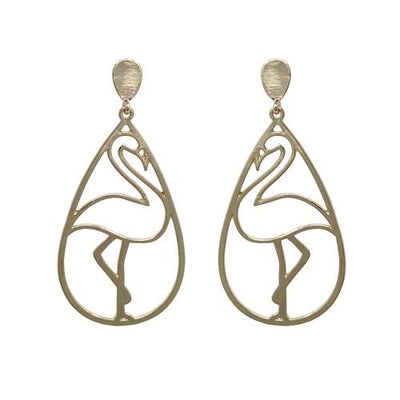 Flamingo outline earring - gold - Hipimi