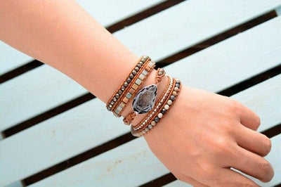 Leather Bracelets Handmade Natural Stones Drusy - Hipimi