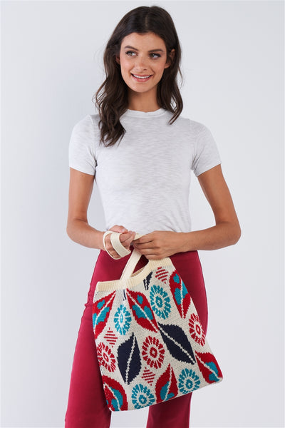 Abstract Leaf Pattern Knit Boho Tote - Hipimi