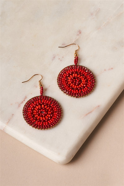 Gold Ivory Red Beaded Disc Drop Earrings - Hipimi