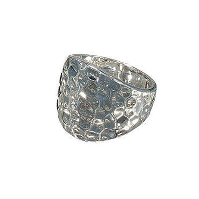 Hammered Heavy Dome Fashion Ring in Polished Rhodium Plate - Hipimi