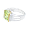 Best Selling Special Two Tone Silvertone Fashion Ring With Emerald Cut Single Stone in Lemon Green Cubic Zirconia - Hipimi