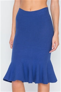 Blue Ribbed Knit Midi Skirt - Hipimi