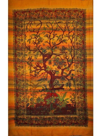 Saffron Tree of Life Birds Hand-loom Tapestry - Hipimi