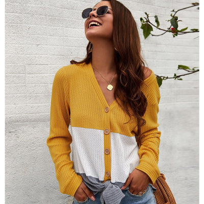 Women Patchwork Color Long Sleeve Knitwear Tops - Hipimi