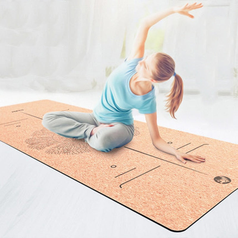 IHOMEINF 0.2 Thick Cork TPE Eco Friendly Yoga Mat Meditation Pilates Workout Fitness Equipment for Home Fitness