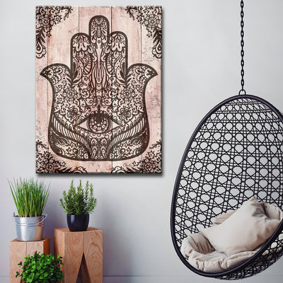 Ready2HangArt Inspirational 'Hamsa Hand II' Wrapped Canvas Wall Art - Hipimi