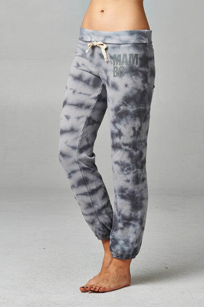 Women's Printed Tie Dye Foldover Waistband French Terry Sweatpants - Hipimi