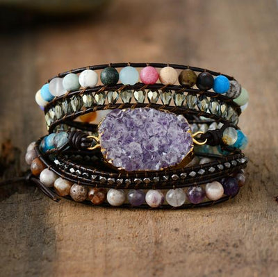 Amethyst Wrap Bracelet with Natural Beads - Hipimi