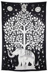 "Elephant Tree Tapestry 52x80"" Black - Hipimi"