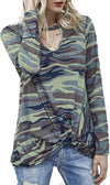 Camoflauge Knotted Front Long Sleeve Tee - Hipimi