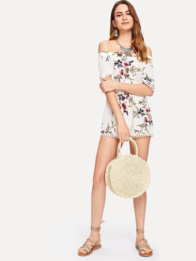 Round Straw Crossbody Bag - Hipimi
