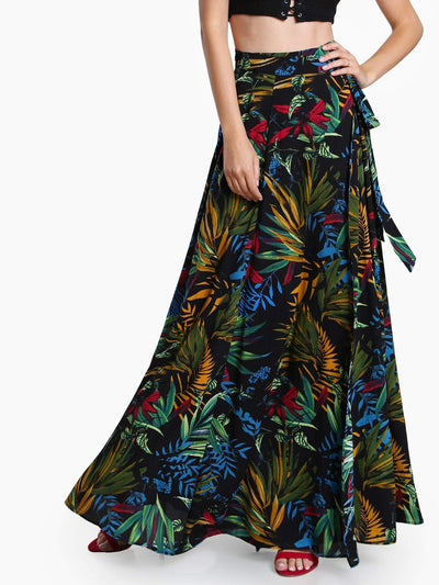Lush Print Self Tie Wrap Skirt - Hipimi