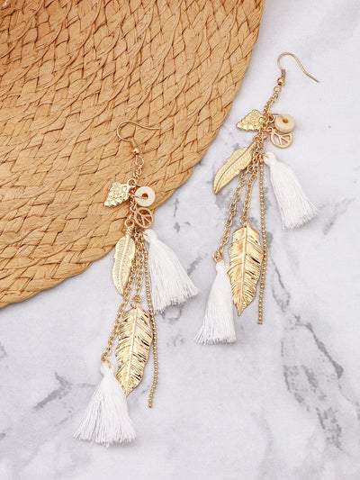 Feather & Leaf Embellished Drop Earrings - Hipimi