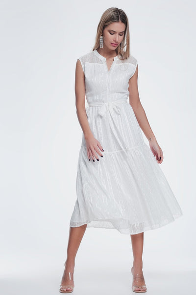 Textured Button Through Smock Dress With Tiered Skirt in Cream - Hipimi