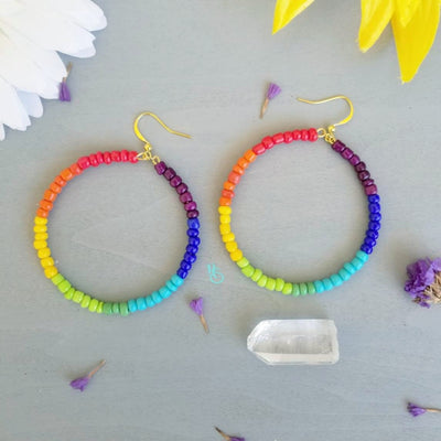 Large Beaded Rainbow Hoops - Hipimi