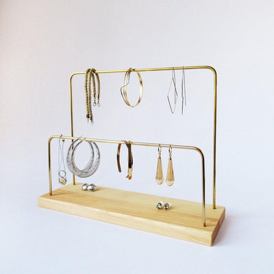 Handmade Wood and Brass Jewelry Stand, Natural, 2 bars - Hipimi