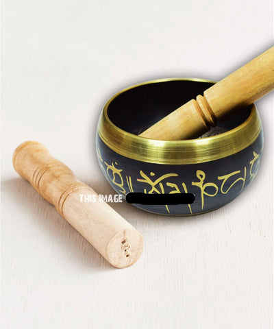 Black Sound Healing and Prayer Tibetan Singing Bowl 4.5 Inch - Perfect for Meditation - Hipimi