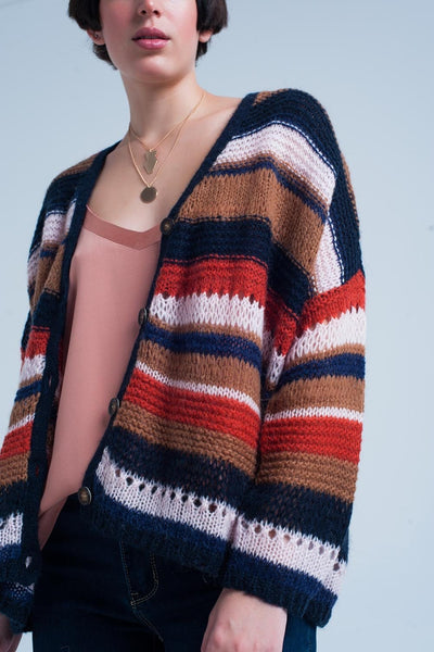 Orange Oversized Chunky Knit Cardigan With Stripes - Hipimi