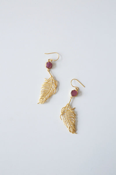 Cast Feather Earrings - Hipimi