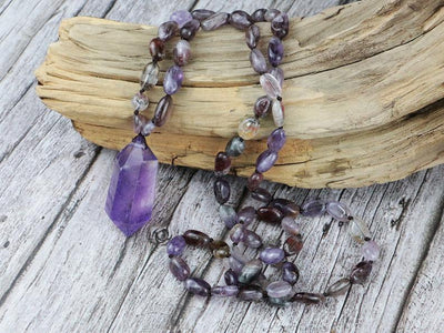 Natural Amethyst Double Point Pendant Purple Ghost Beaded NECKLACE - Hipimi