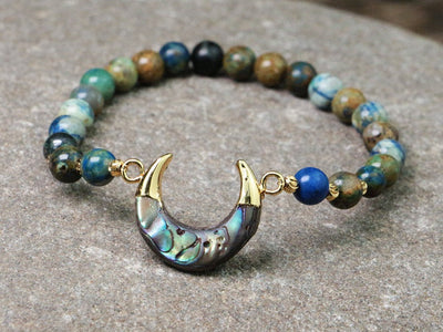 natural crescent shape abalone beaded stretch bracelet - Hipimi